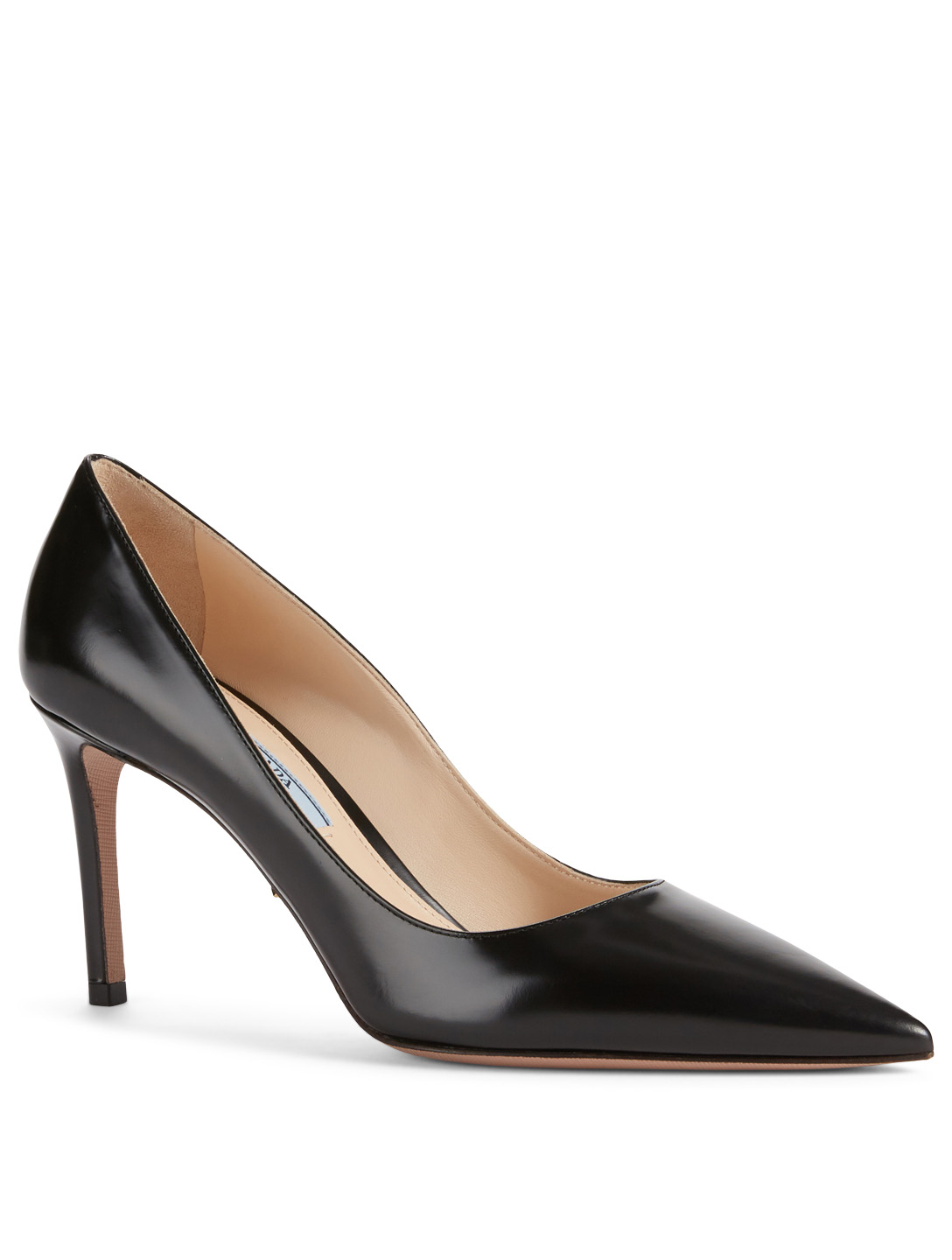 PRADA Spazzolato Leather Pumps Womens Black