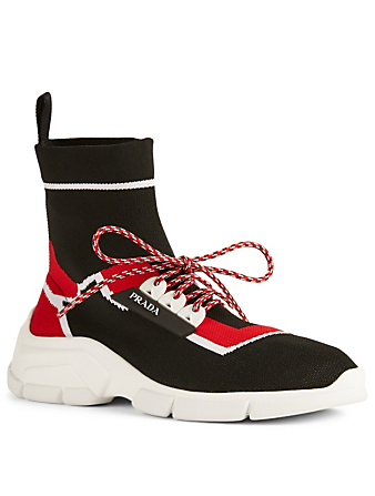 PRADA Knit High-Top Sneakers Women's Red