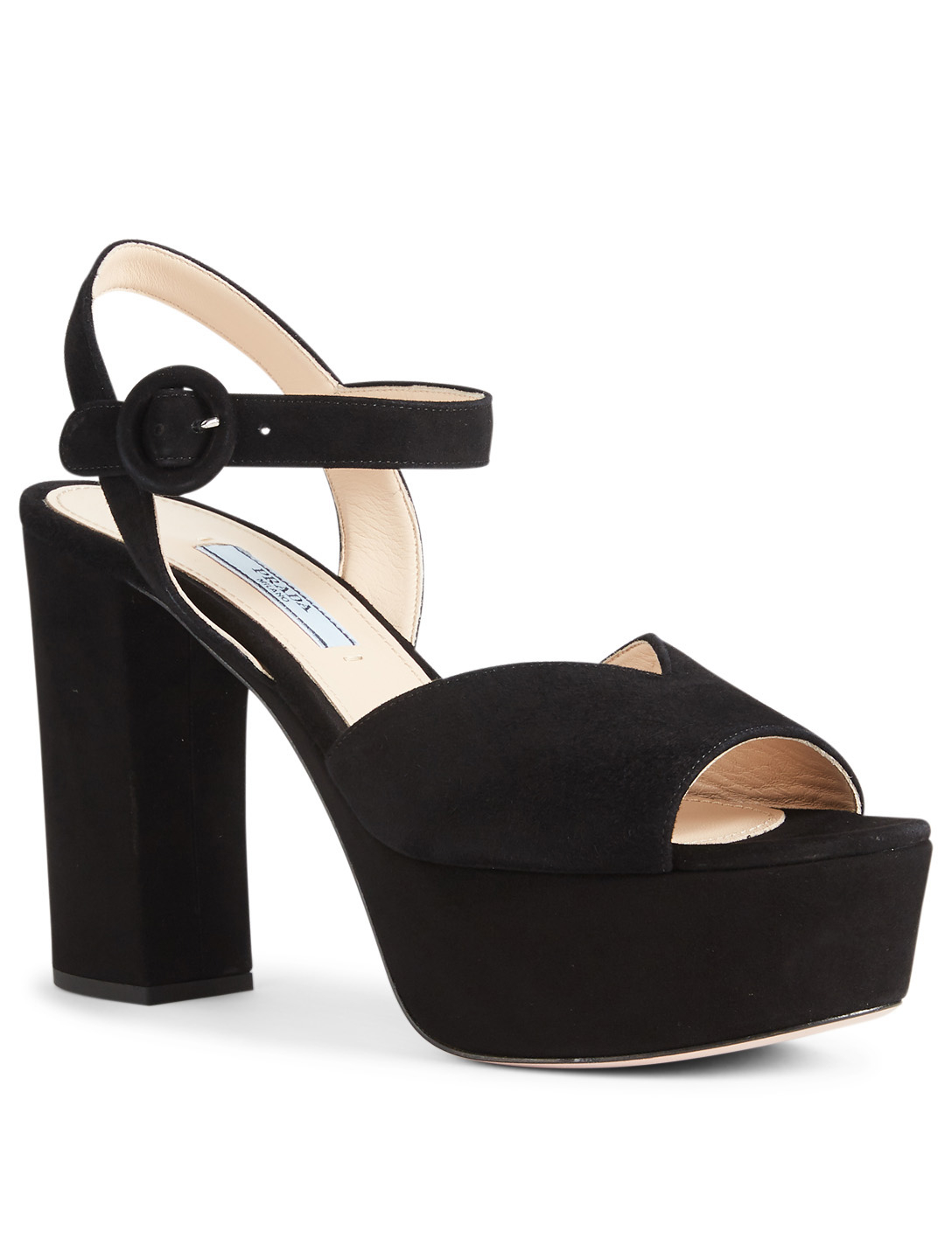 PRADA Suede Platform Sandals Womens Black