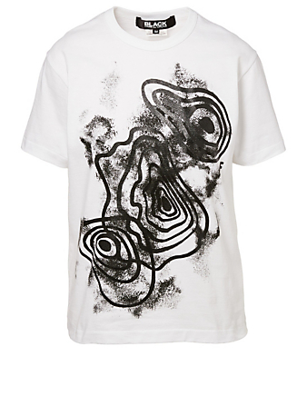 COMME DES GARÇONS BLACK T-Shirt In Abstract Print Men's White