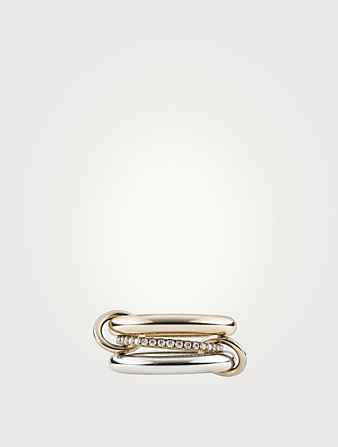 SPINELLI KILCOLLIN Libra 18K Yellow Gold And Sterling Silver Stacked Ring With Diamonds Womens Metallic