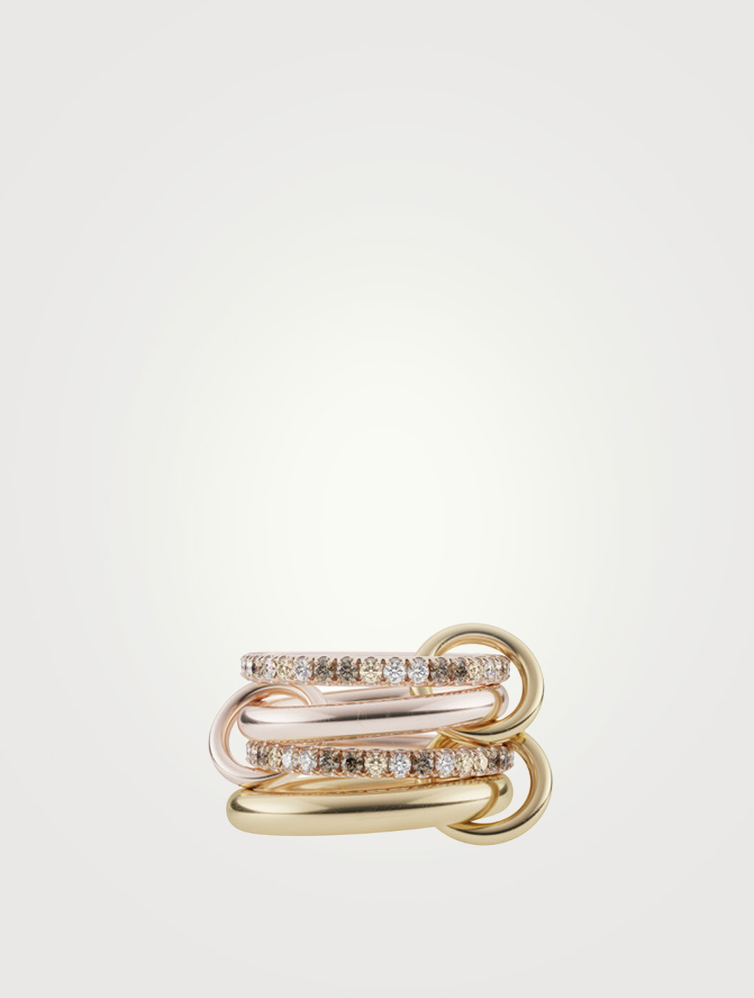 SPINELLI KILCOLLIN Cancer 18K Yellow And Rose Gold Stacked Ring With Diamonds Women's Multi