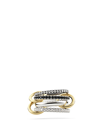 SPINELLI KILCOLLIN Sagittarius Sterling Silver And 18K Yellow Gold Stacked Ring With Diamonds Womens Metallic