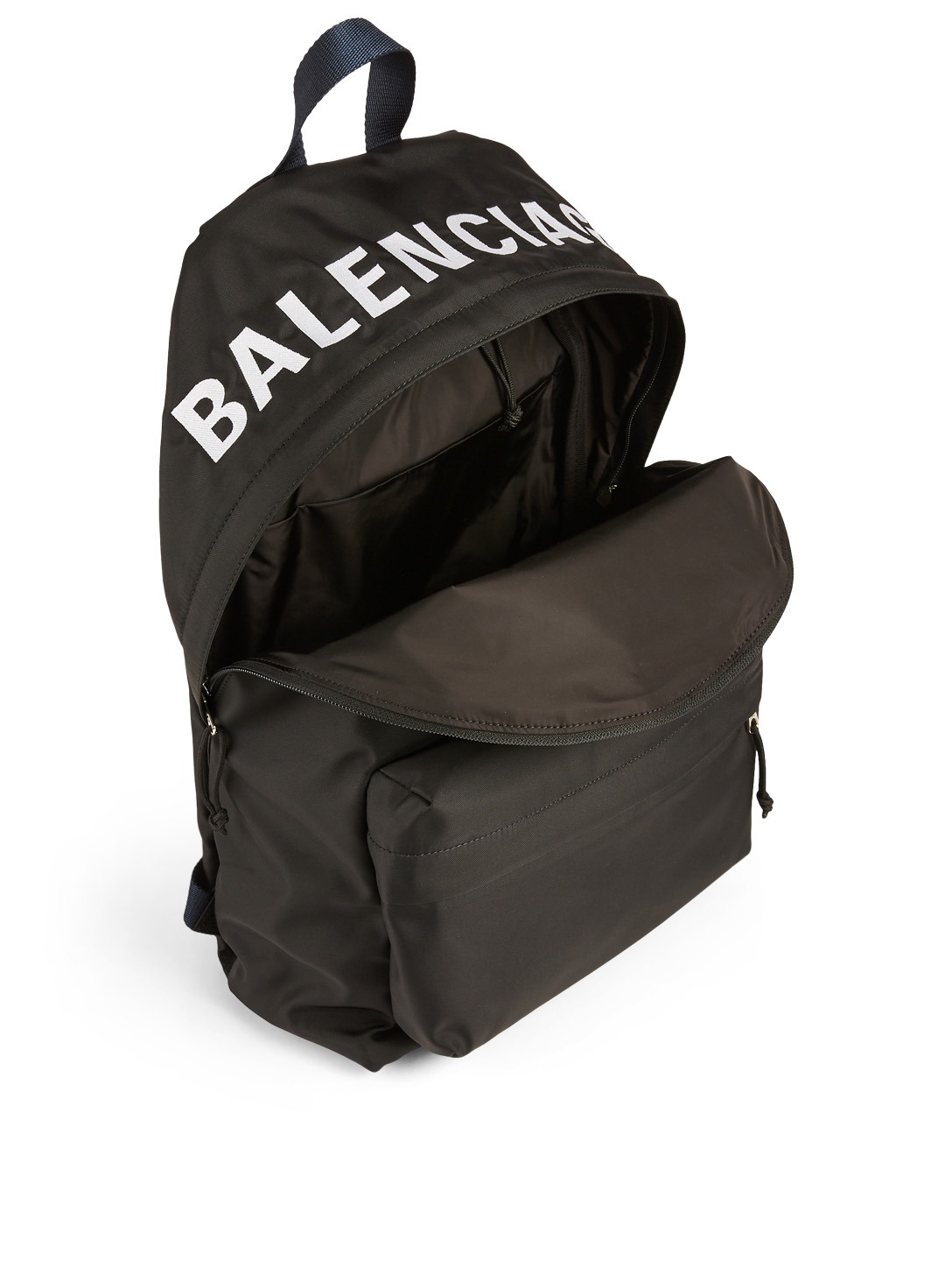 BALENCIAGA Wheel Nylon Backpack With Embroidered Logo Designers Black