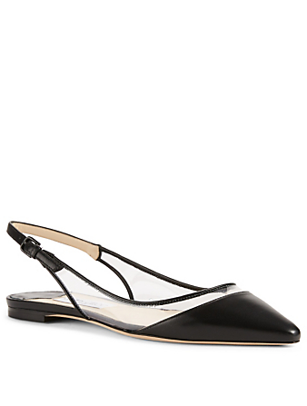JIMMY CHOO Erin Leather And PVC Slingback Flats Womens Black