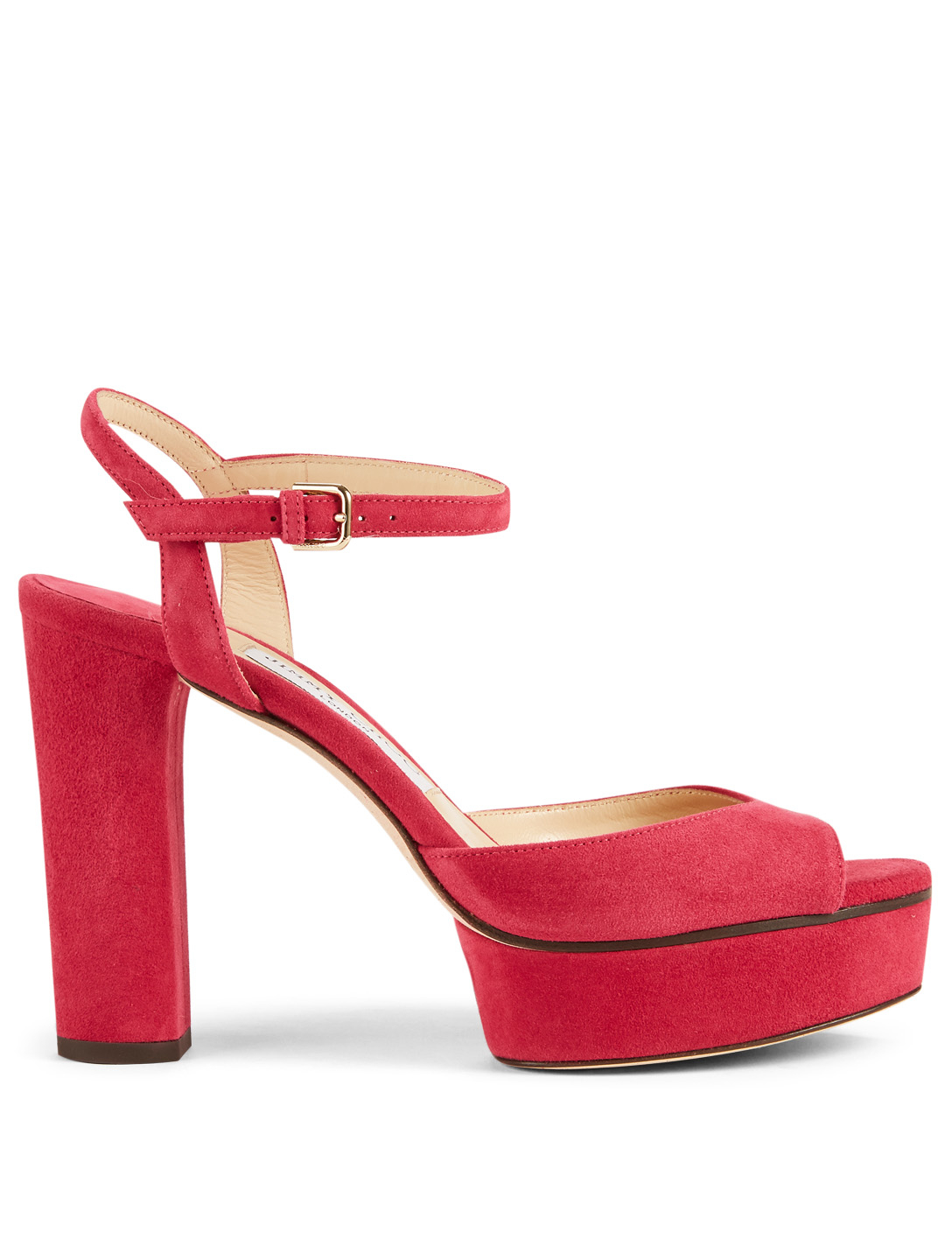 JIMMY CHOO Peachy 105 Suede Platform Sandals Womens Red
