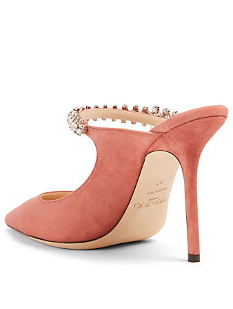 5b3ebbbc611e ... JIMMY CHOO Bing 100 Suede Mules With Crystal Strap Women s Pink ...