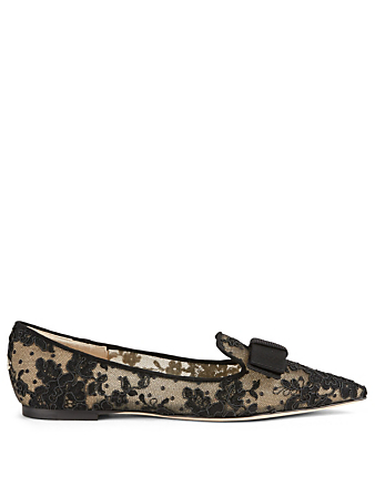 JIMMY CHOO Gala Lace Ballet Flats Womens Black