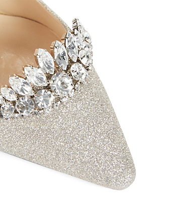 JIMMY CHOO Romy 100 Glitter Pumps With Crystal Tiara Designers Neutral