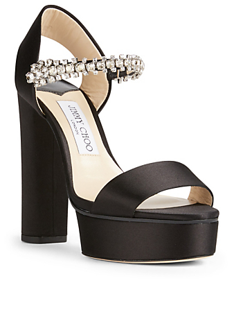 JIMMY CHOO Santina 125 Platform Sandals With Crystals Womens Black