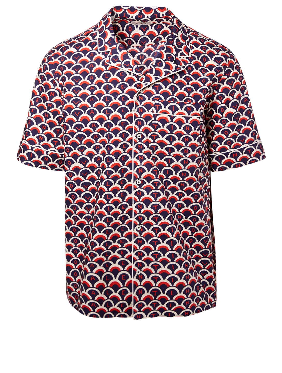 VALENTINO Short Sleeve Shirt In Logo Scale Print Men's Blue