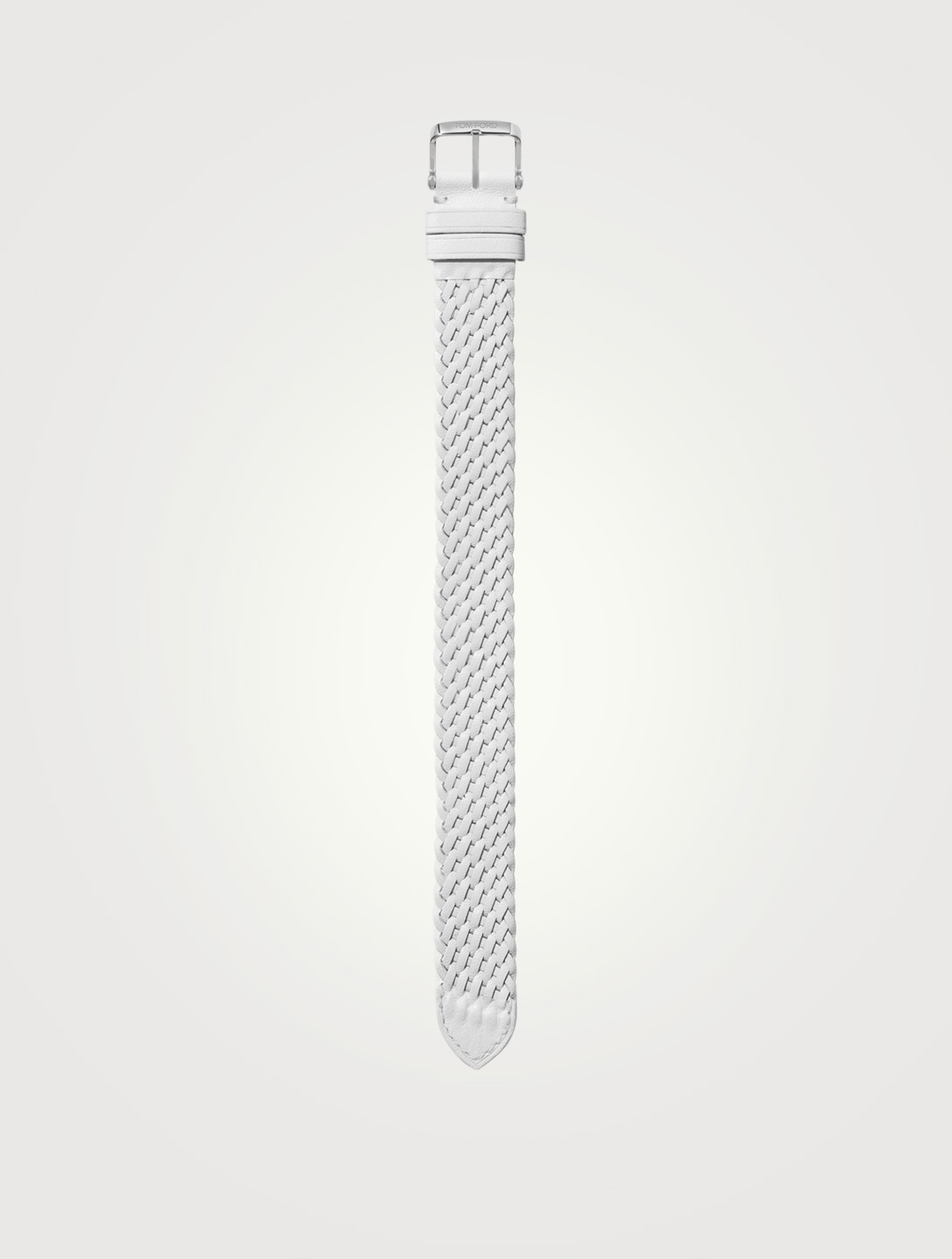 TOM FORD Medium Braided Leather Watch Strap Womens White