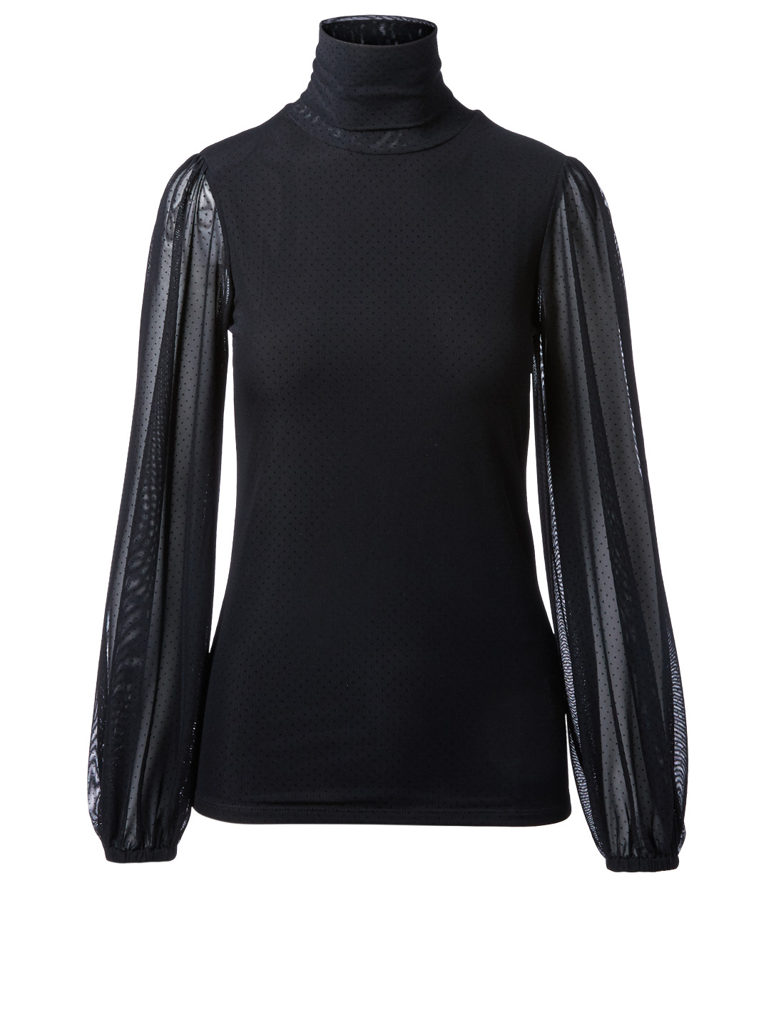 GANNI Addison Dot Mesh Turtleneck Top Women's Black