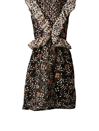 ULLA JOHNSON Essie Silk Dress In Floral Print Womens Black
