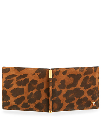 TOM FORD Suede Bifold Wallet In Leopard Print With Clip Men's Multi