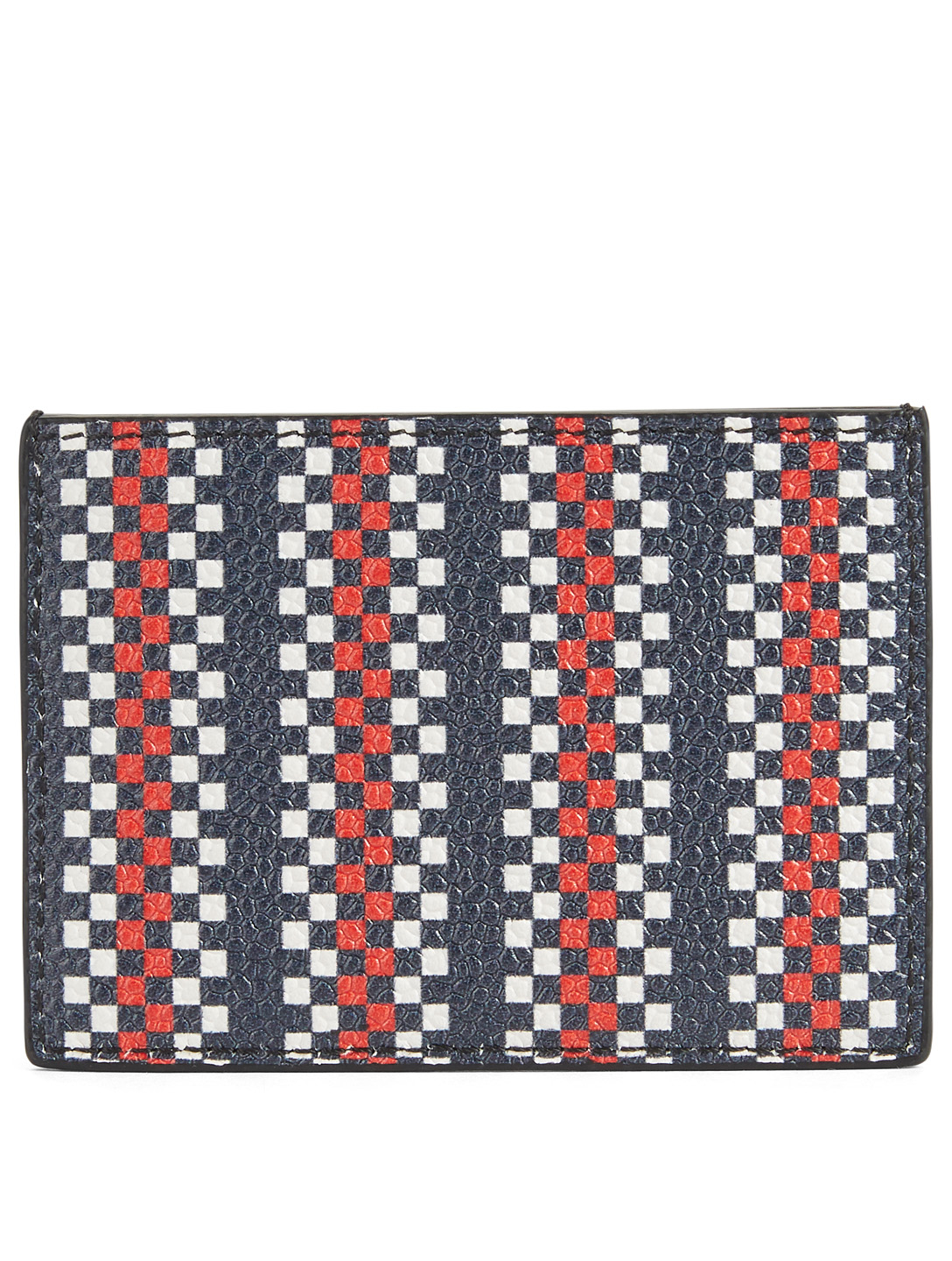 THOM BROWNE Leather Card Holder In Plaid Print Men's Multi