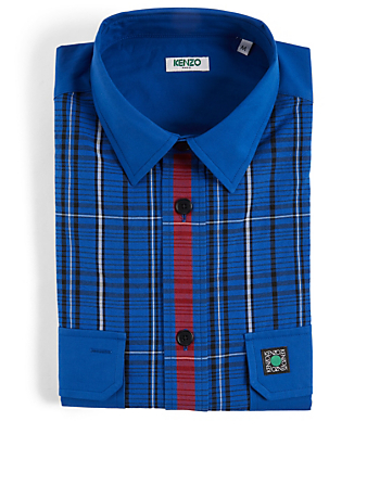 KENZO Button-Up Shirt In Check Men's Blue