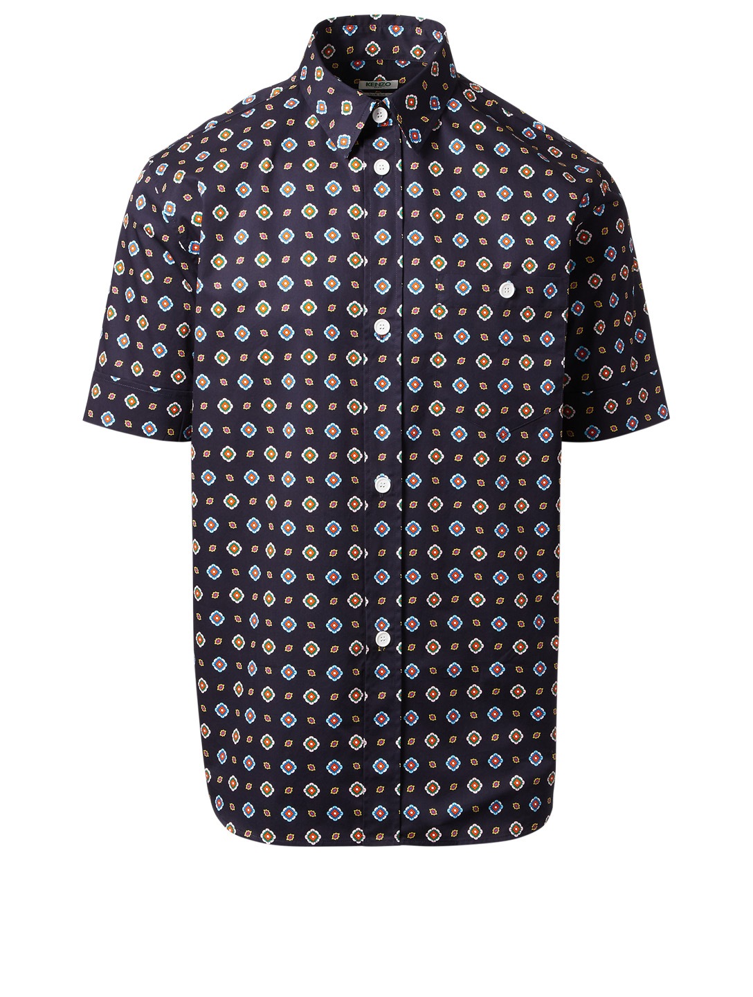 KENZO Short Sleeve Shirt In Medallion Print Men's Blue