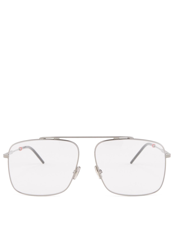 DIOR Lunettes de vue de forme aviateur structurée Dior0220 Hommes Gris ... 3c6fef89621c