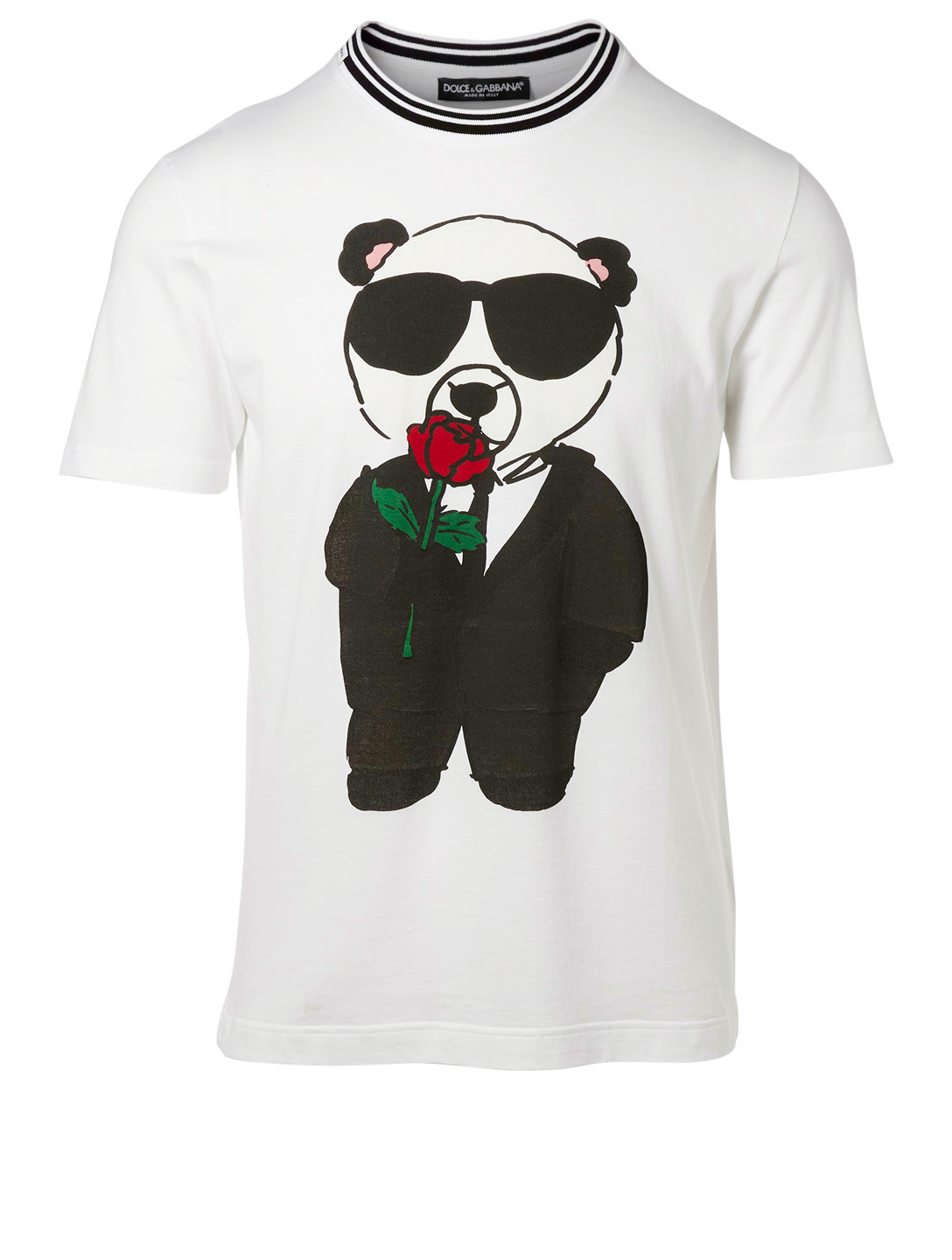 DOLCE & GABBANA Panda Rose T-Shirt Men's White