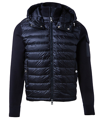 MONCLER Wool Down Zip-Up Cardigan With Hood Men's Blue