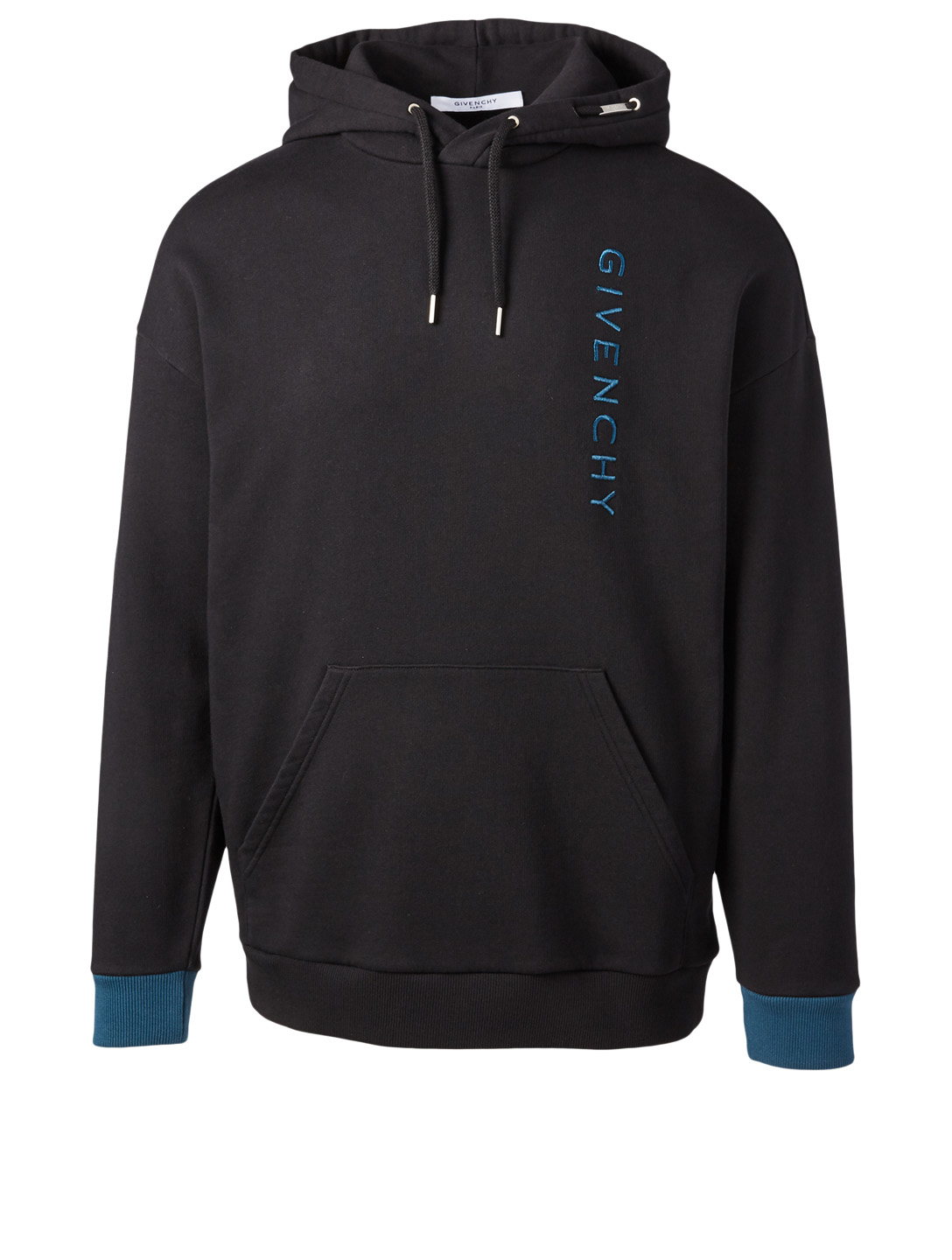 GIVENCHY Two-Tone Vertical Logo Hoodie Men's Black
