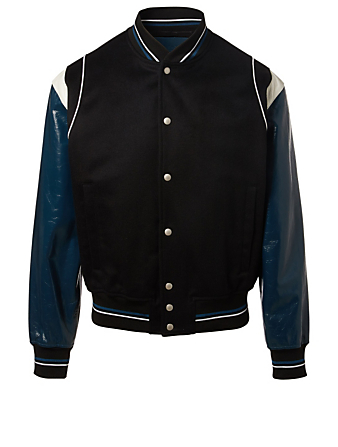 GIVENCHY Contrast-Sleeve Baseball Jacket Men's Black