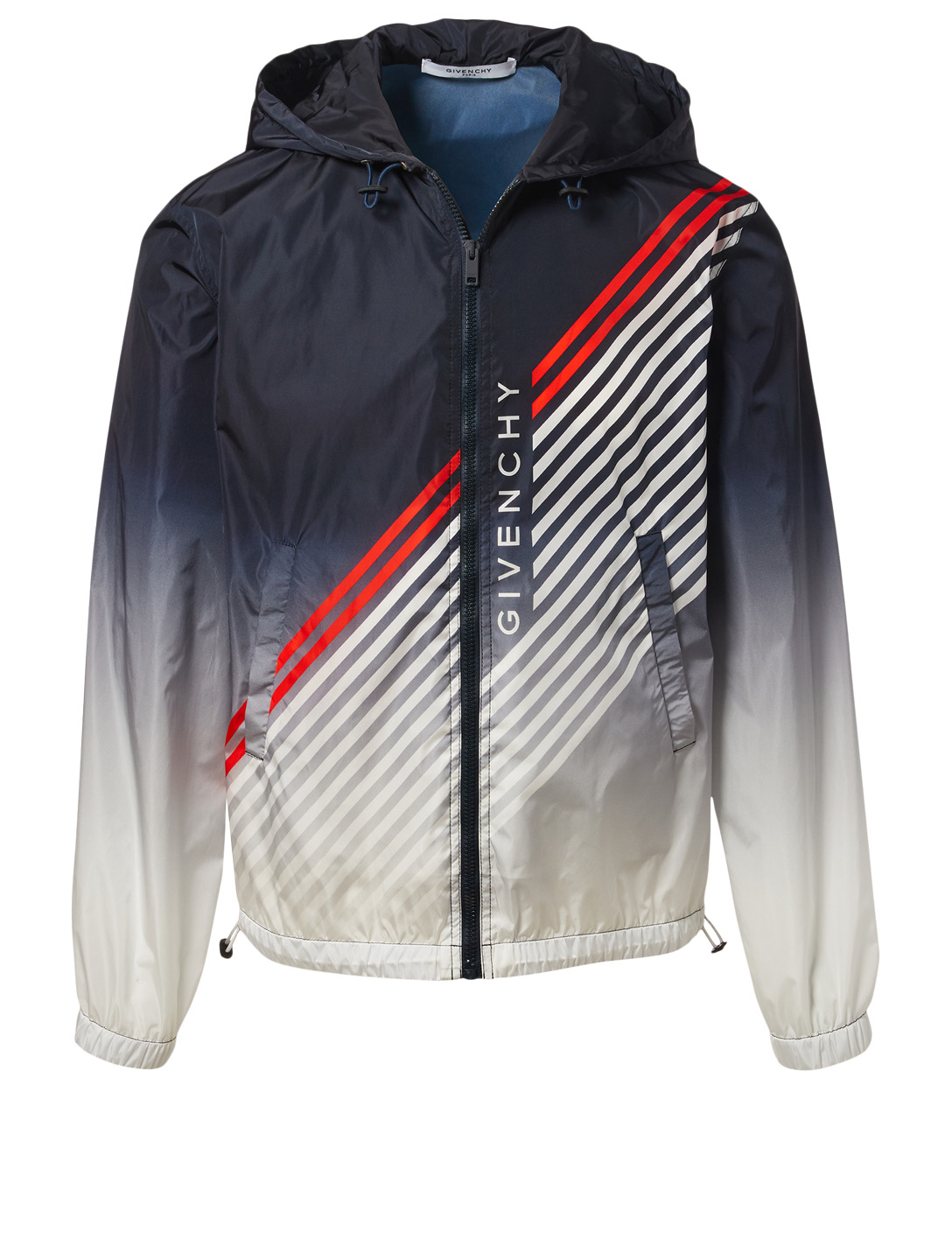GIVENCHY Windbreaker Jacket With Logo And Stripes Men's Blue