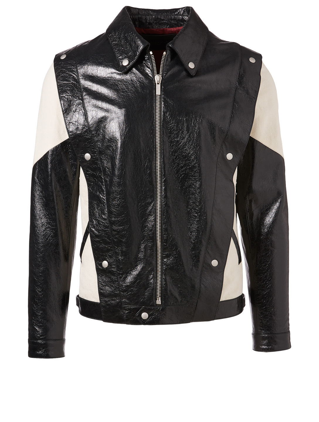 GIVENCHY Two-Tone Leather Jacket Men's Black