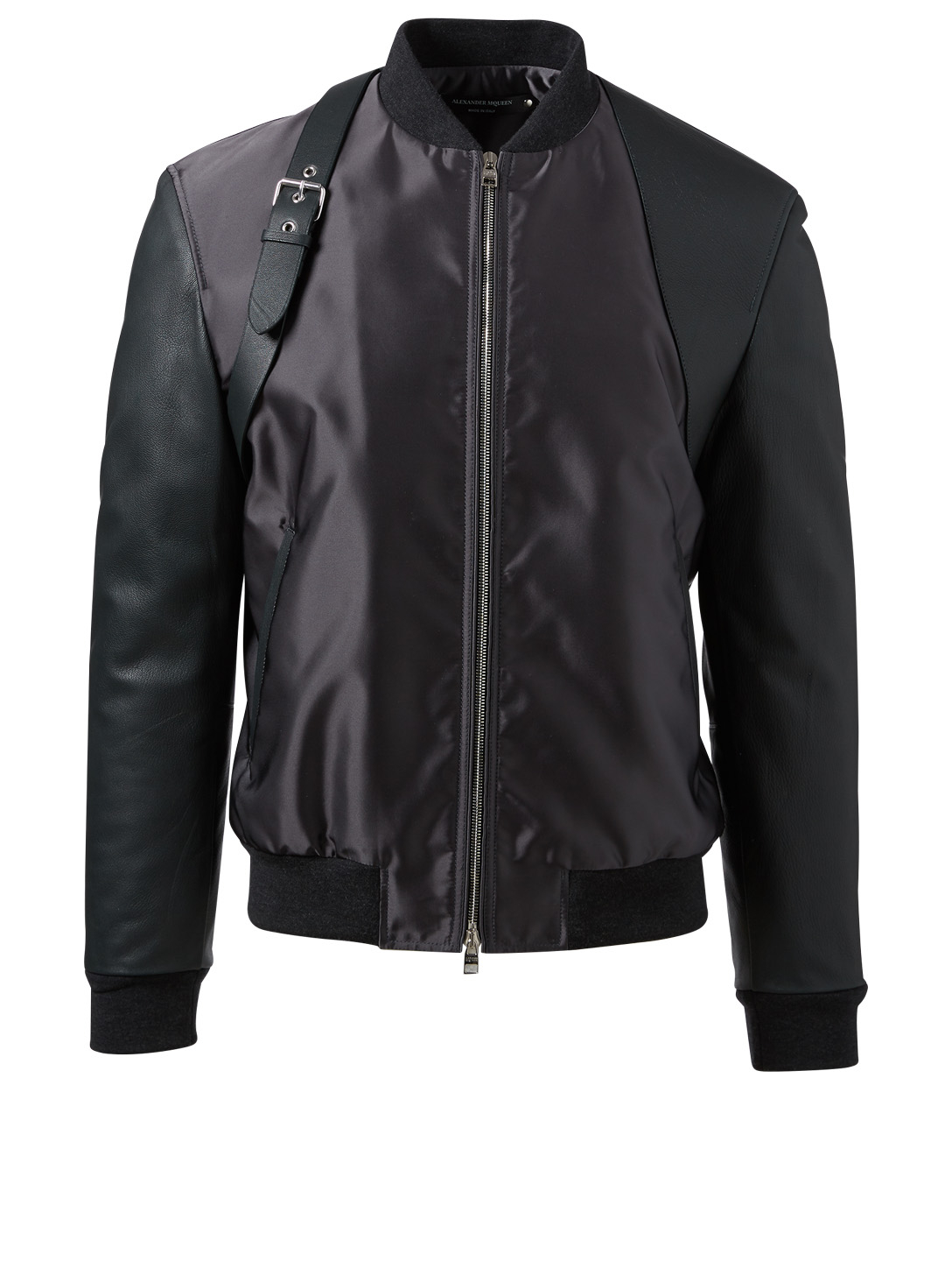 ALEXANDER MCQUEEN Nylon And Leather Harness Bomber Jacket Men's Black