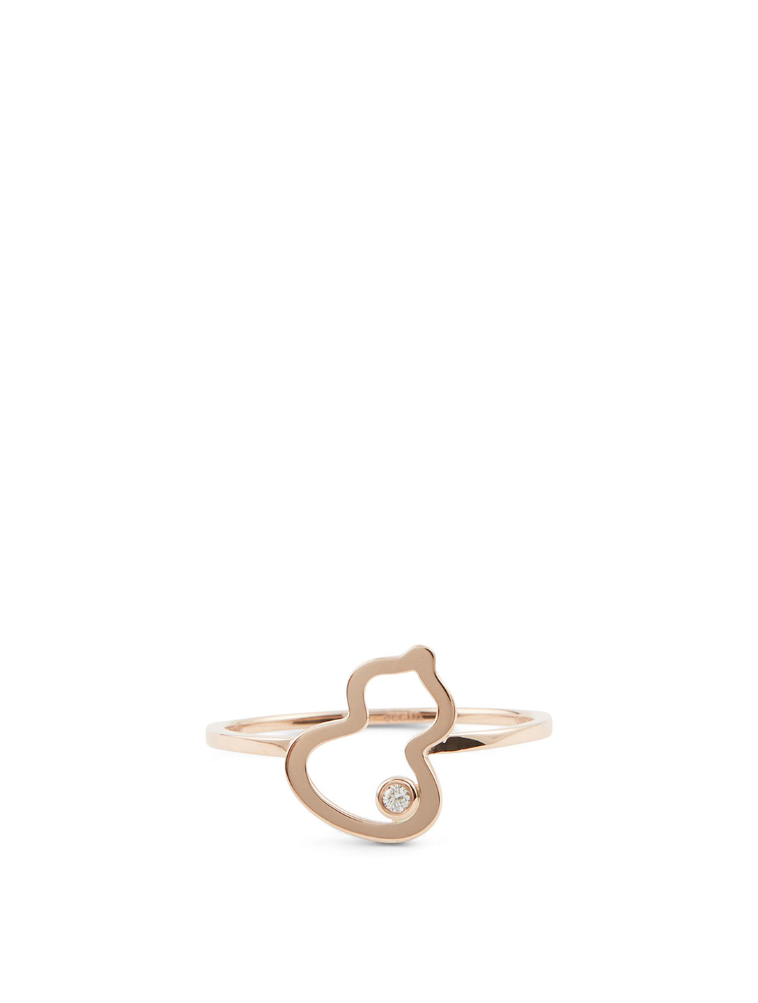 QEELIN Petite Wulu 18K Rose Gold Ring With Diamond Womens Metallic