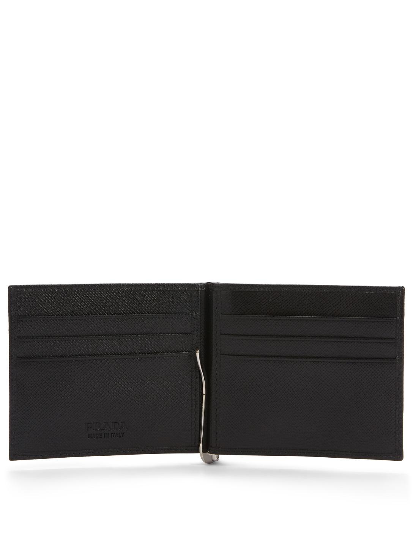 5946184ec239 ... PRADA Saffiano Leather Wallet With Money Clip Men's Black ...