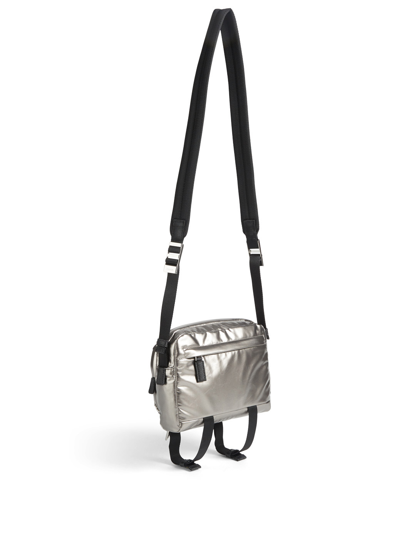 85e0bf06cb4713 ... PRADA Metallic Nylon Crossbody Bag Men's Silver ...