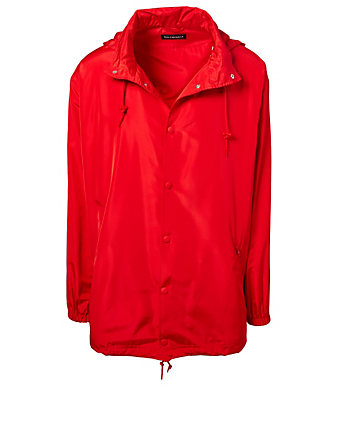 BALENCIAGA Distressed Logo Rain Jacket Designers Red