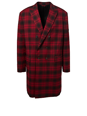 BALENCIAGA Wool-Blend Double-Breasted Coat In Plaid Designers Red