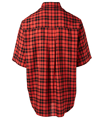 BALENCIAGA Short Sleeve Button-Down Shirt In Plaid Designers Red