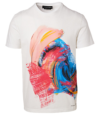 ALEXANDER MCQUEEN T-Shirt In Paintbrush Print Men's White