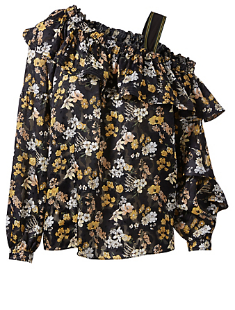 DEREK LAM 10 CROSBY Silk-Blend One-Shoulder Blouse In Floral Print Womens Black