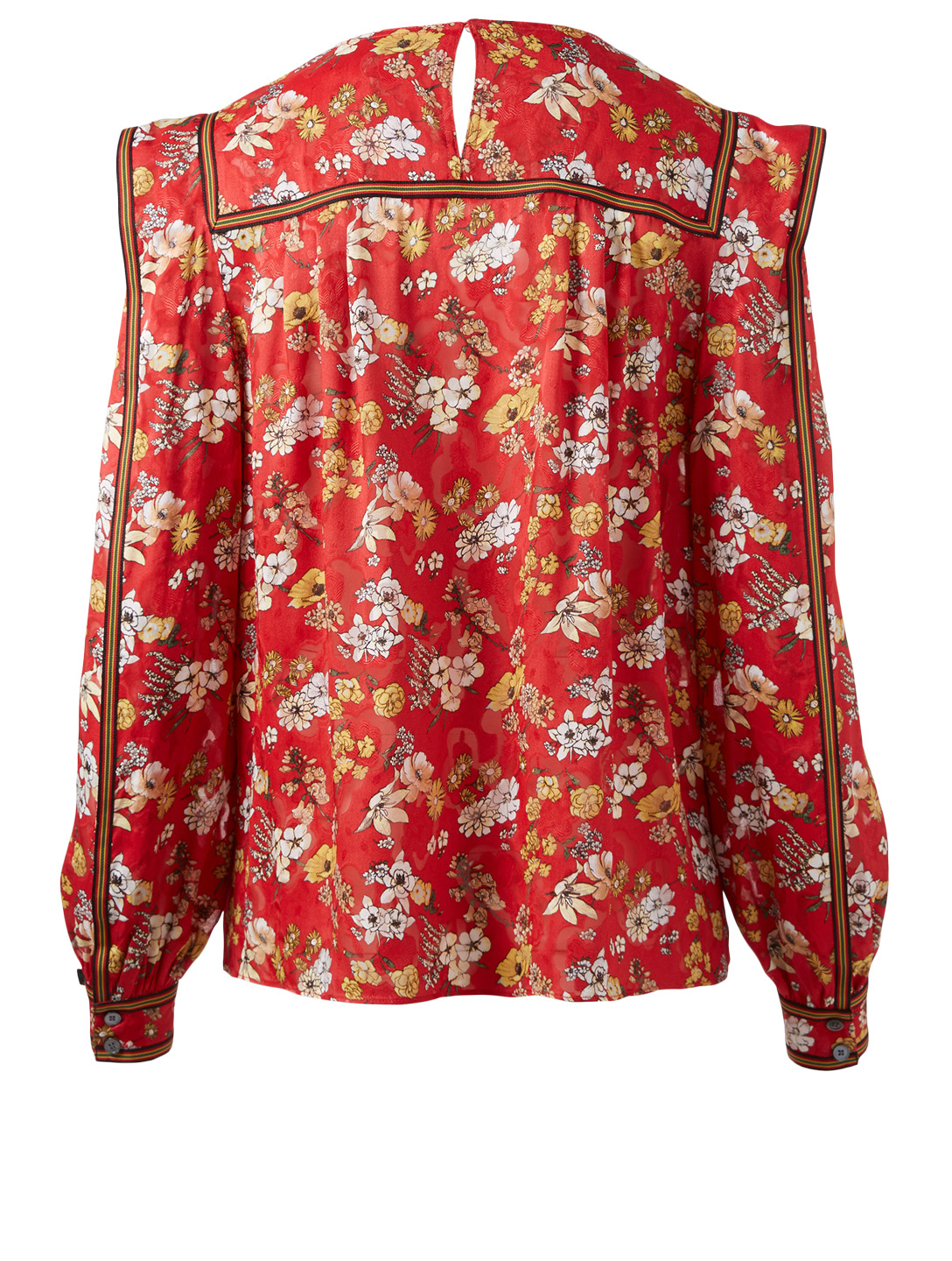DEREK LAM 10 CROSBY Silk-Blend Blouse In Floral Print Women's Red