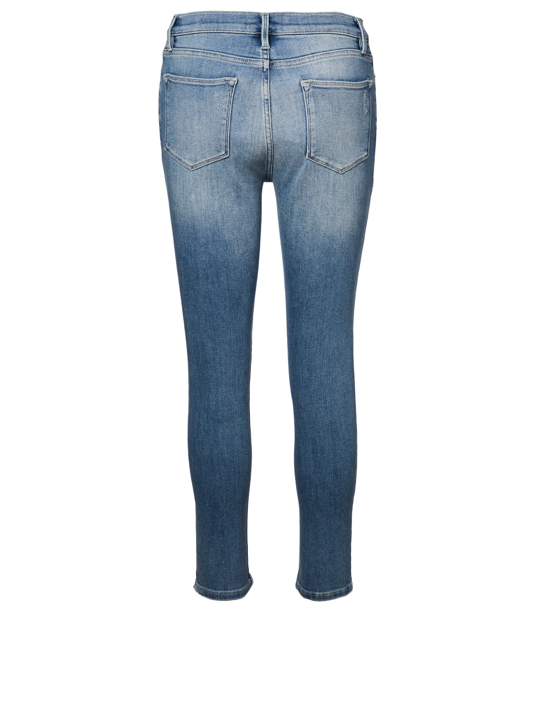 FRAME Le High Skinny High-Rise Jeans With Front Chew Women's Blue