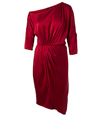OBAKKI Cora Silk One-Shoulder Dress H Project Red