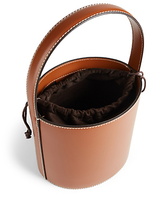 STAUD Bissett Leather Bucket Bag Womens Brown