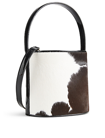 STAUD Bissett Calf Hair Bucket Bag In Cow Print Womens Black