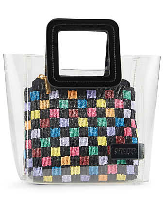 STAUD Mini Shirley PVC Bag With Beaded Pouch Womens Multi