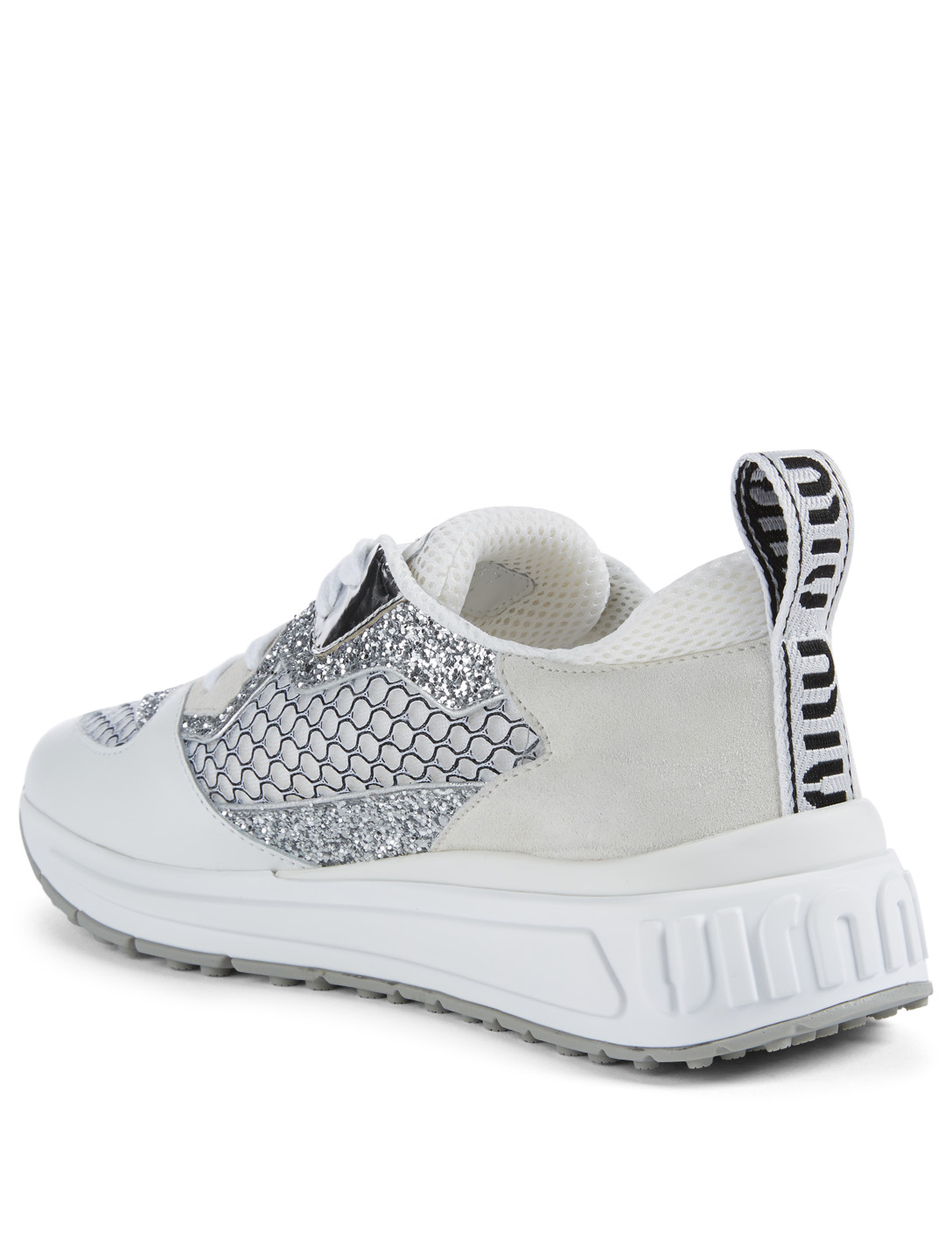 MIU MIU Leather and Glitter Sneakers Womens White