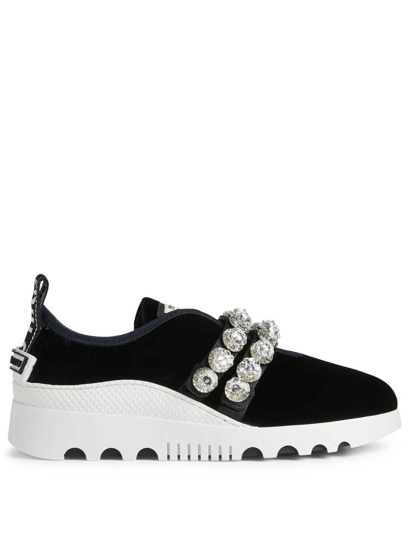 b6ef2b2ddd73 MIU MIU Miu Run Velvet Sneakers With Crystal Strap Women s ...
