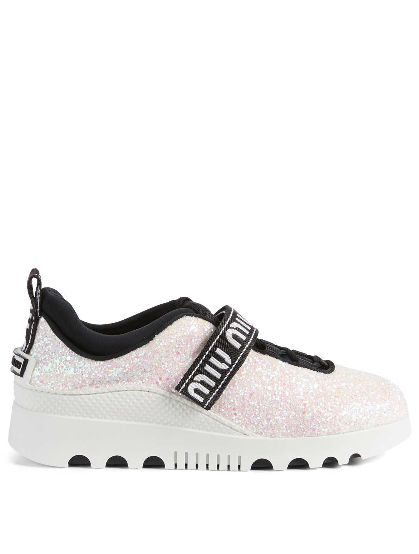 b83231475d6 MIU MIU Miu Run Glitter Sneakers