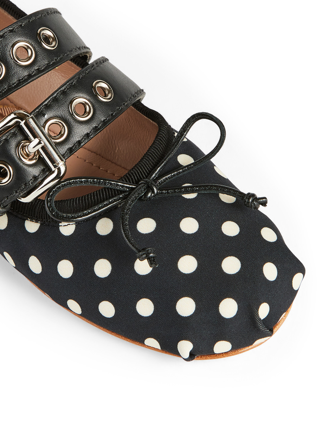 MIU MIU Double Buckle Ballet Flats In Polka Dot Print Collections Black
