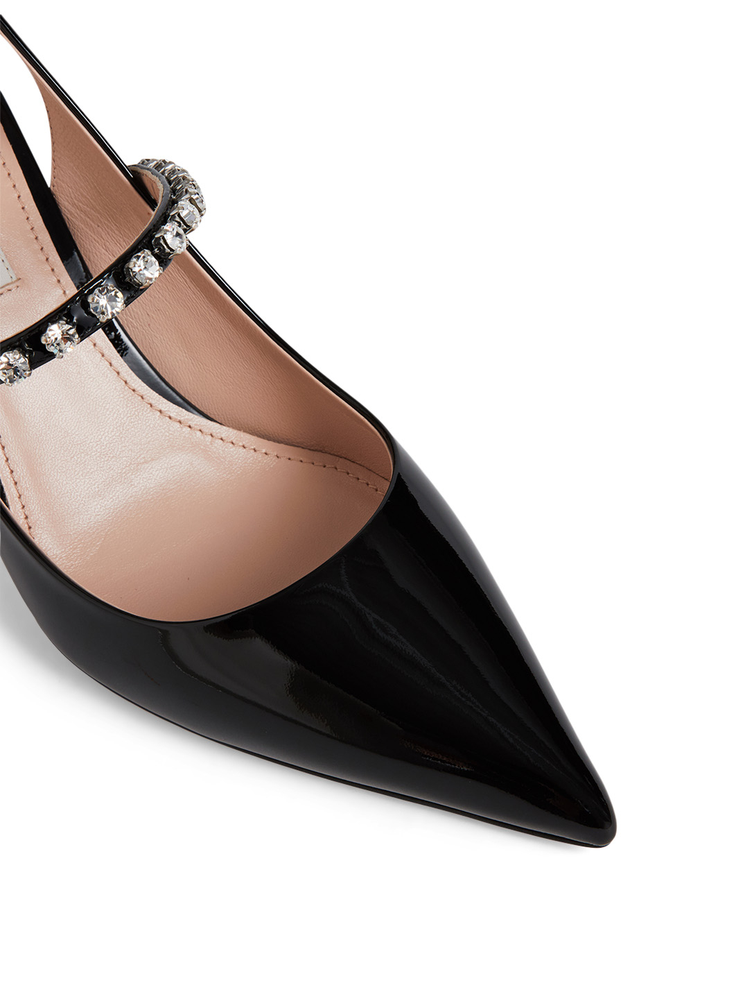 MIU MIU Patent Leather Slingback Pumps With Crystals Womens Black