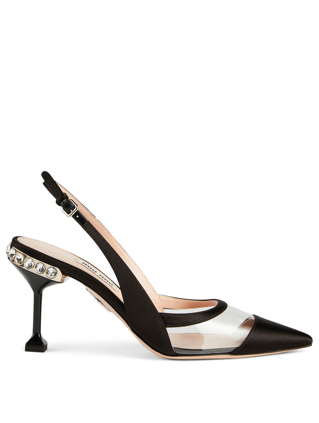698da800333 MIU MIU Satin And PVC Slingback Pumps With Crystal Heel Women s Black ...